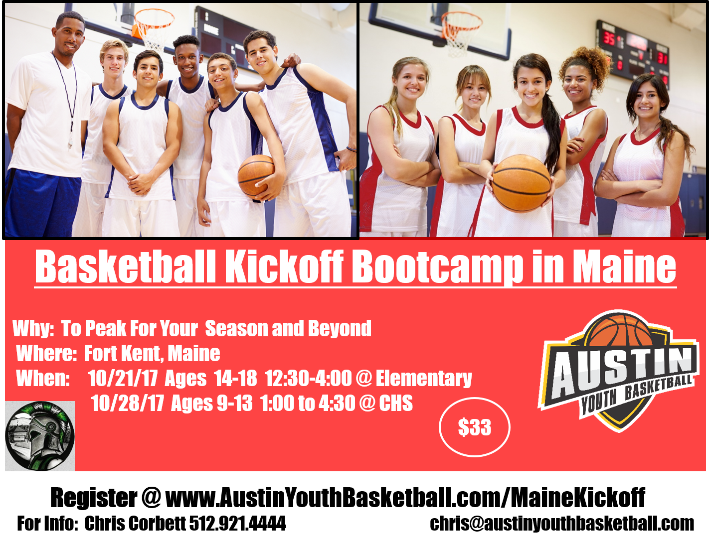 Maine Basketball Clinic Flyer 2017 Fort Kent Front
